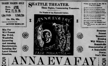 Advertisement for Mind Reader  Anna Eve Fay  Seattle PI April 26, 1896