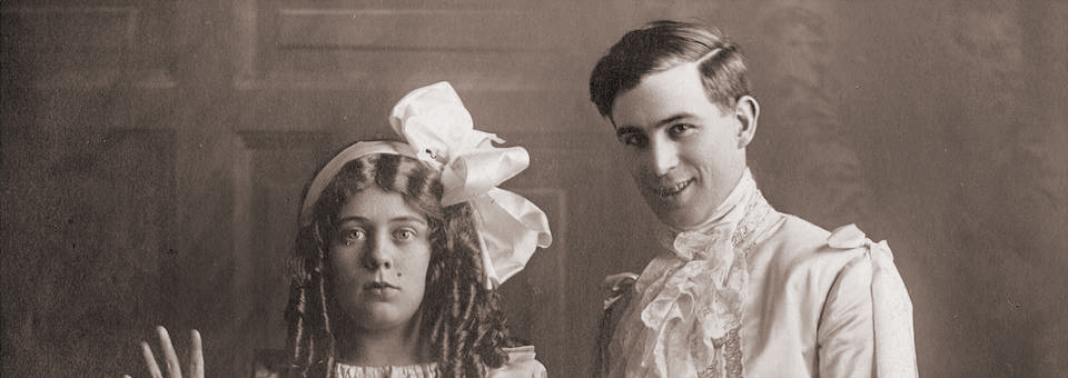 "Walter DeLeon and Miss ""Muggins"" Davies in a scene from ""The Toymaker"" which opened at the Seattle Theatre on September 8, 1901."