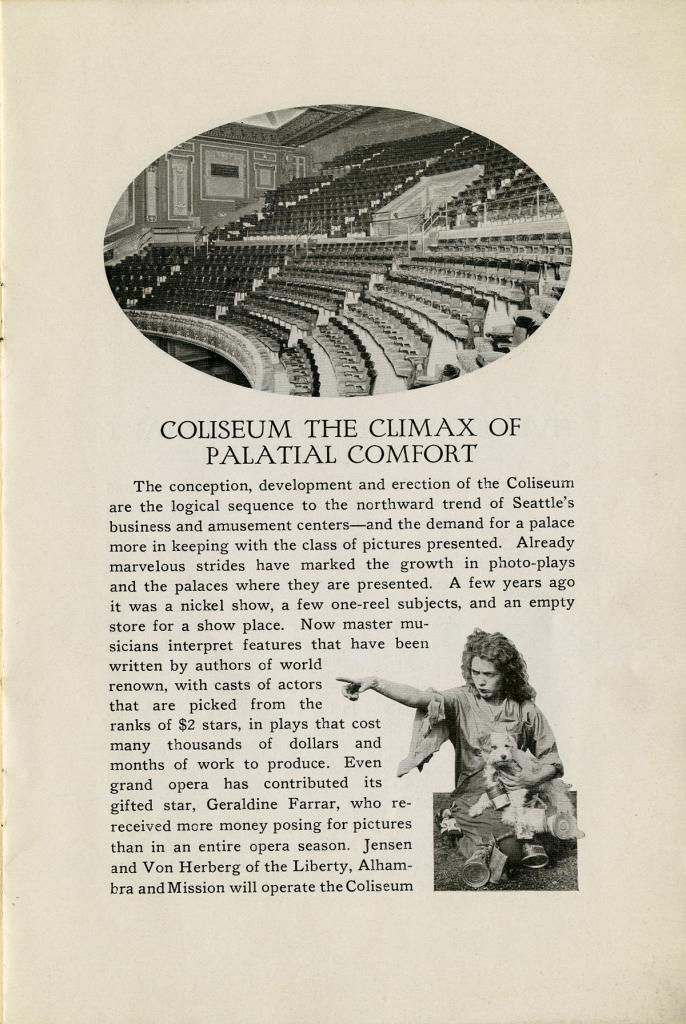 The theatre program for the Grand Opening of the Coliseum Theatre on January 8, 1916.
