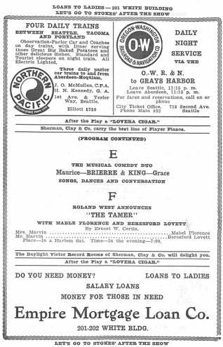Theatre program for the variety show playing at the Empress Theatre during the week of September 1st 1913.