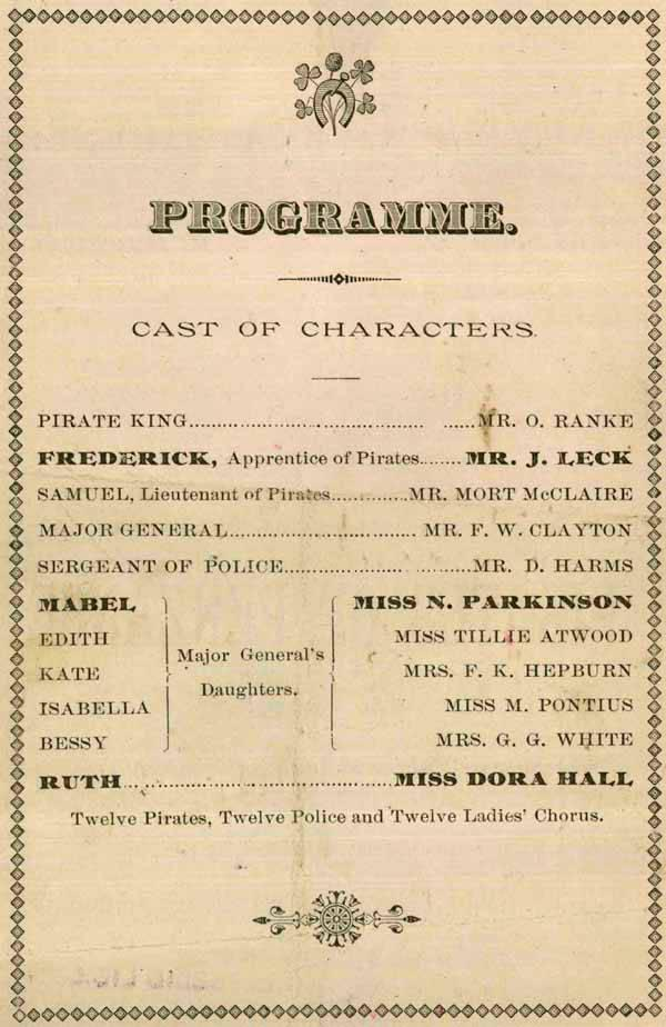 "Program from Gilbert and Sullivan's ""Pirates of Penzance"" which played at Frye's Opera House from December 26-27 1884."