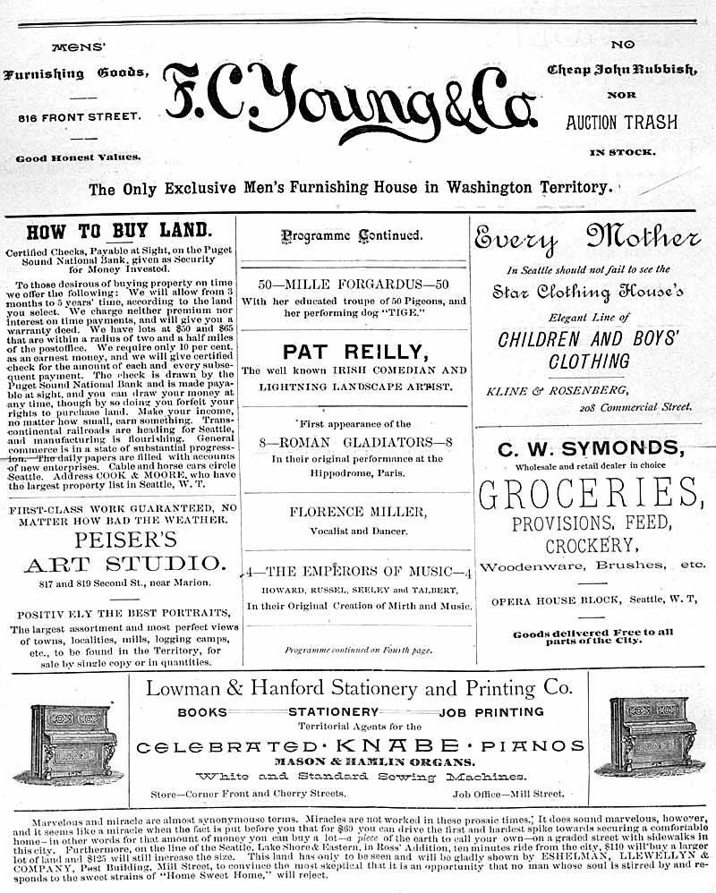 "Program for ""Reilly and Wood's Big Show"" at the Frye's Opera House for the week of June 19, 1888. There was a variety of acts being performed this week including a comedy show from the Irish comedian Pat Reilly and some original music."
