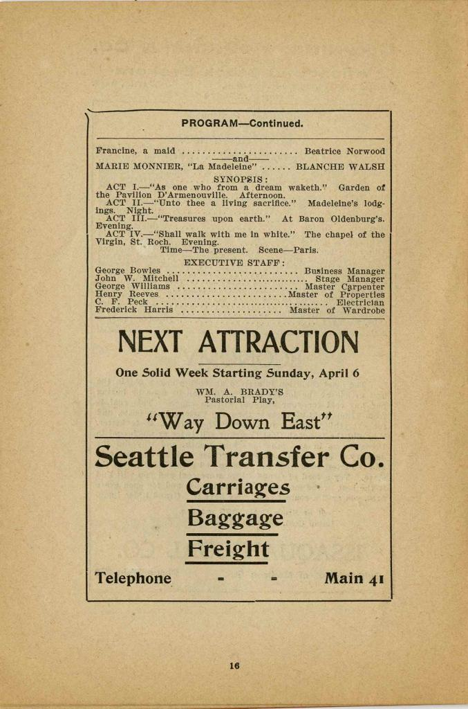"The program for the performance of the play ""Arizona"" starting Monday, March 31, 1902 and running three nights including a Wednesday matinee."