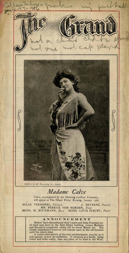 "The Grand Opera House program for the work 'College Widow' presented on January 14-17, 1906. Henry W. Savage presented the pictorial comedy ""The College Widow"" written by George Ade."
