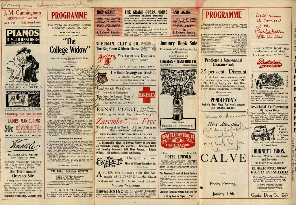 """The Grand Opera House program for the work 'College Widow' presented on January 14-17, 1906. Henry W. Savage presented the pictorial comedy """"The College Widow"""" written by George Ade."""