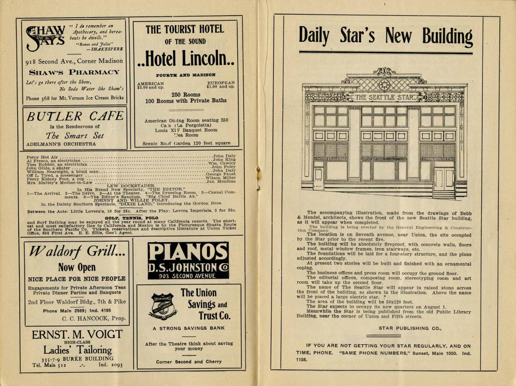 """The Grand Opera House program for June 16-22, 1907. From June 16-19, Lew Dockstader and his Minstrel Company performed. From June 20-22, Viola Allen starred in """"Twelfth Night""""."""