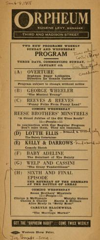 """Program for the Vaudeville acts playing at Levy's Orpheum from January 6-8, 1918. The acts include the last installment of""""The Retreat of the German at the Battle of Arrars""""."""
