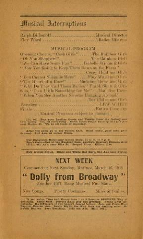 "Program from Levy's Orpheum for the week of March 3-15,1919. Eugene Levy's ""Bargain Hunters"" played which is a musical comedy."