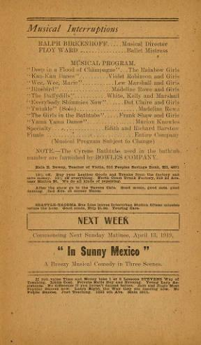 Program for Levy's Orpheum for the week of April 6-12, 1919. This week included a production of Moulin Rogue with Lew White.
