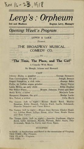 """Levy's Orpheum program for the productions during the week of November 16-23, 1918. This included a production of """"The Time, The Place, and The Girl""""."""