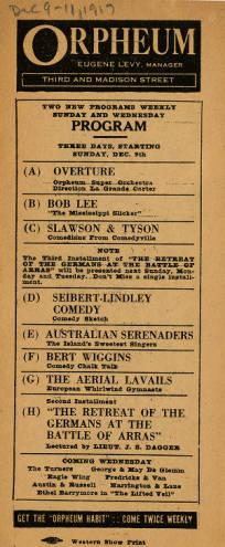 Vaudeville program for the acts playing at Levy's Orpheum during the week of December 9-11, 1917.