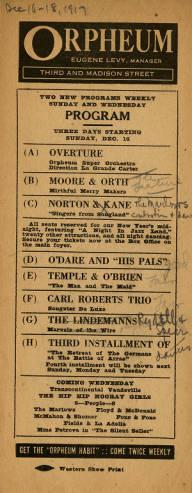 Program for a week of vaudeville acts at Levy's Orpeheum running from December 16-18, 1917.