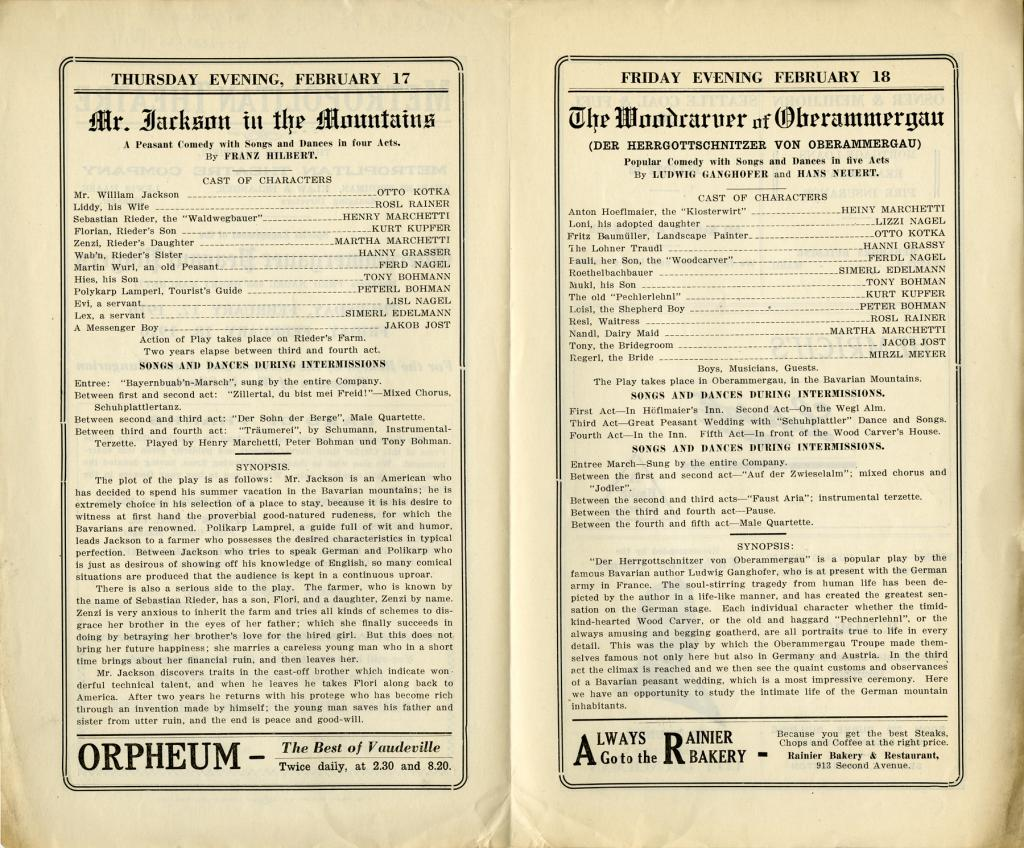 Theatre program for the performances of Mr. Jackson in the Mountain and The Woodcarver of Oberammergau at the Metropolitan Theatre on February 17 and 18 1916. The performances were a benefit for the German and Austro-Hungarian Prisoners of War held in the Russian territory of Siberia.