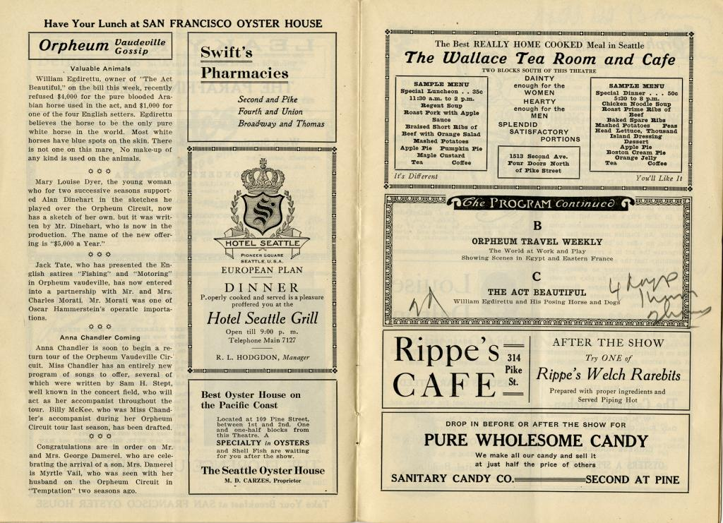 "Vaudeville program for the Moore Theatre from October 28 through November 3 1917 including The British Government's War Pictures presentation of ""The Retreat of the Germans at the Battle of Arras"" among many other performers."