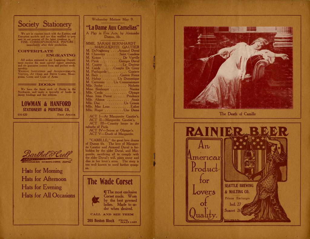 This was a program from the Seattle leg of the last tour in American for the world famous Sarah Bernhardt. Bernhardt