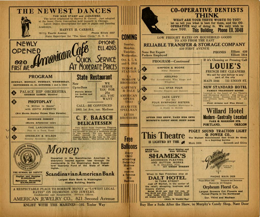 """Palace Hip program for the vaudeville performances from September 29 through October 4 1918. On October 5, 1918 the Seattle theaters were closed by the city health department due to Spanish Influenza pandemic. On the front page of the program Sayre has written """"then closed, with all others - flu epidemic"""". On the last page of the program Sayre has crossed out the intended last date of these vaudeville performance October 5th. The theaters would not reopen until November 12, 1918."""