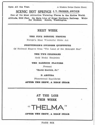 "Pantages Theatre featured a wide variety of performances between February 14-20 of 1910. Included in these erformances were banjoists, national singers, a scientific sensation, as well as other works and productions. Also depicted in Pantages' Program are adds for ladies fashion, taxi cabs, Pike Place Market, and resturantes. Additionally, on page four there is a full page spread of Afloat Motor Company for their McFarland Wave Motor. This 1910 program also illuminates ""Thelma"" a production playing at the Lois Theater."