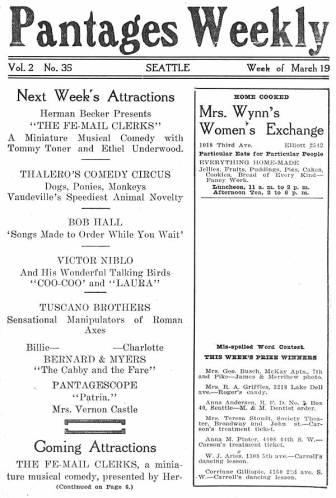 Pantages Theatre featured a wide variety of performances for the week of March 19, 1917. The program depicted each performance along with a short description.Also depicted are advertisements from many Seattle businesses as well as special music and performance company information and lessons. The program also emphasizes descriptions on thefollowing week's attractions.