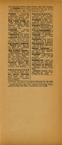 Pantages Theatre lists their featured performers in a two page layout program. The first page is dedicated to the various performances and their details. The second page depicts small boxes of short adds; no picutures are shown.