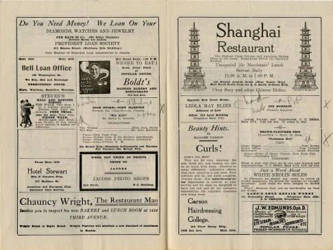 Pantages Theatre featured a wide variety of performances for the week of June 19, 1916. Most of the performances featured were productions rather than individual acts for this weekly program.Also depicted are advertisements from many Seattle businesses. The program also emphasizes descriptions on the present and following week attractions.