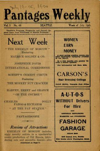 Pantages Theatre featured a wide variety of performances for the week of July 19, 1920. Most of the performances featured were productions rather than individual acts for this weekly program. Also depicted are advertisements from many Seattle businesses. The program also emphasizes descriptions on the present and following week attractions.