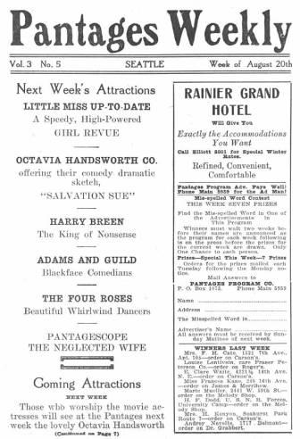 Pantages Theatre featured a wide variety of performances for the week of August 20-26, 1917. Most of the performances featured were productions rather than individual acts for this weekly program. Also depicted are advertisements from many Seattle businesses. The program also emphasizes descriptions on the present and following week attractions.