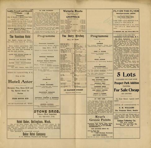"Pantages Theatre featured a variety of performances during the week of August 24, of 1908. One interesting act is featured on the cover of the Pantage's Program for this week, ""Mlle. Louse's Performing Monkeys."" Also included in this program is a full listing of the other performances for the week, as well as a preview of what is to come in the following week at the Pantages Theatre. Included alongside the features are adds for hotel and food venues, as well as, wood importors and paints. On the back of the program is an eye catching add seeking other's to use the program to place their own adds."