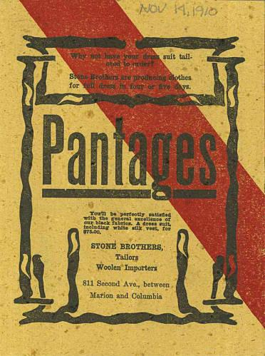 Featured in Pantages Program of November 14th through November 20th of 1910 are many varying productions. A range of events were showcased in Pantages Theater program like comedy, plays, dancing, and so forth. Also shown are advertisments throughout the program.