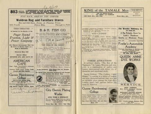Pantages Theatre featured a range of performances during the week of November 15, 1915, including flexible athletes, a dancing violinist, a dainty songster as well as a small hand full of productions. Also depicted are advertisements from many Seattle businesses. The program also emphasizes descriptions on the present and following week attractions.
