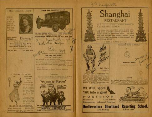 Pantages Theatre featured a wide variety of performances for the week of November 18, 1918. Most of the performances featured were individual acts  as well as a couple of productions. Also depicted are advertisements from many Seattle businesses. The program also emphasizes descriptions on the present and following week attractions.