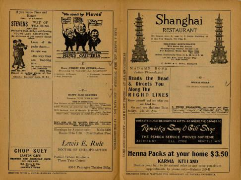 Pantages Theatre featured a wide variety of performances for the week of November 24, 1919. Most of the performances featured were productions rather than individual acts for this weekly program. Also depicted are advertisements from many Seattle businesses. The program also emphasizes descriptions on the present and following week attractions.