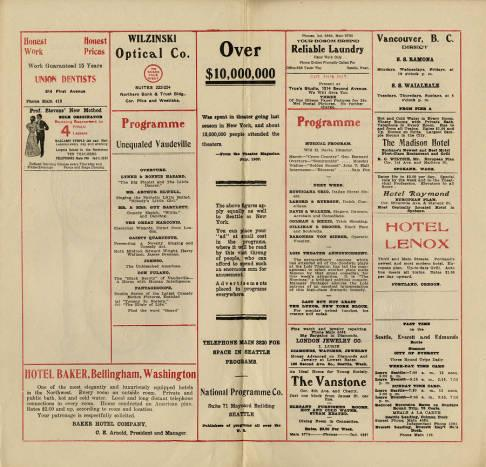 Pantages Theatre brought forth an abundance of various features for the week of November 25, of 1907. Details of these features are found on page two and three. Advertisments are also found throughout the program; some images acompany, including an image on the cover and one on the back page with color. Red typography is also found throughout.