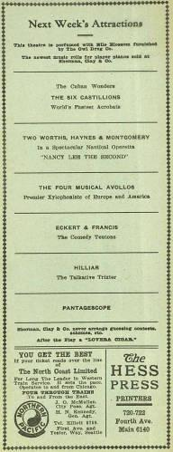 """Pantages Theatre brought forth an abundance of various features for the week of December 2-8 of 1912. Details of these features are found on page two and three. Additionally adds depict """"Palace Market"""" highlights as well as for a brewing company and multiple restaurants."""