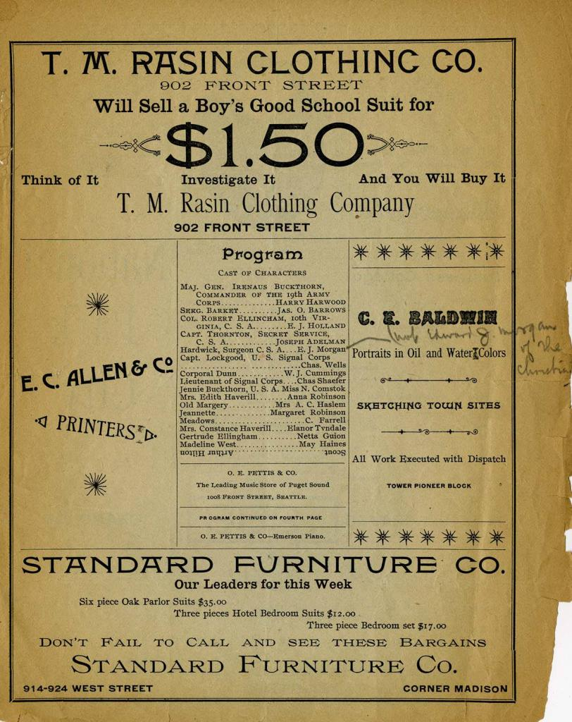 """The Seattle Opera House program for June 1-3, 1891. Bronson Howard's comedy drama, """"Shenandoah"""" was performed."""