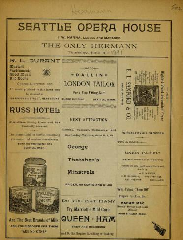 "The Seattle Opera House program for ""The Only Herrmann"", on June 4, 1891. The Herrmanns entertained with several different acts."