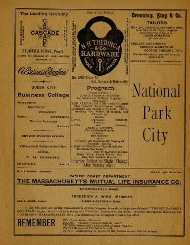 A program from the June 8, 1891 performance of various acts by George Thatcher's Celebrated Minstrels at Seattle Opera House.