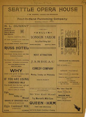 "A program from the June 13, 1891 performance of <em>Him Me</em> by Four-in-Hand Pantomime Company at Seattle Opera House. The performance starred Elro F. Dare as, ""Young Me, A fly boy,"" and Francis DeVali as ""Old Him, Not so fly."""