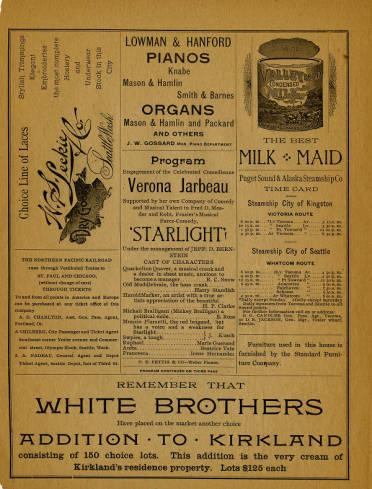 A program from the June 15, 1891 performance of a comedy titled <em>Starlight</em>, performed by Vernona Jarbeau's Comedy Company at Seattle Opera House.