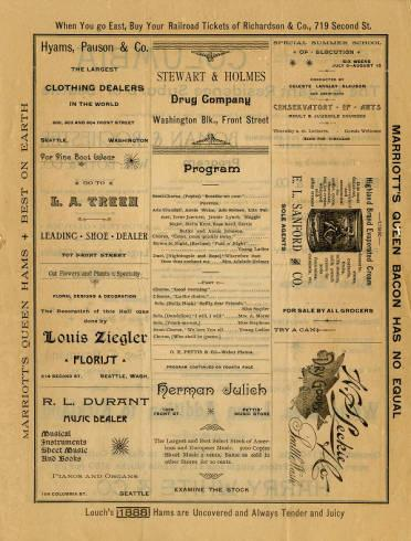 """On June 18, 1891, Root's Cantata """"The Flower Queen"""" was performed """"under the auspices of the Y.P.S.C.E. [Young People's Society of Christian Endeavor]of the Presbyterian Church"""" at Seattle Opera House. This is a program from the performance."""
