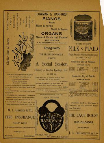 A program from the June 22, 1891 production of a comedy titled <em>A Social Session</em> at Seattle Opera House.