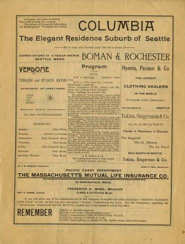 A program from Daniel Frohman's Lyceum Theatre Company's first run at Seattle Opera House. On June 29 and July 3 they performed <em>The Wife</em>, and on June 30 they performed <em>Sweet Lavender.</em>