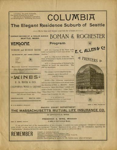 A program from the three-night performance of four-act burlesque <em>The Burgomaster of Pinneberg</em>, performed by the Liliputians starting July 27, 1891 at the Seattle Opera House.