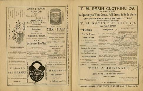 A program from July 17, 1891 for the two-night peformance of the comedy<em>Si Plunkard</em>at Seattle Opera House, starring Farmer J.C. Lewis.