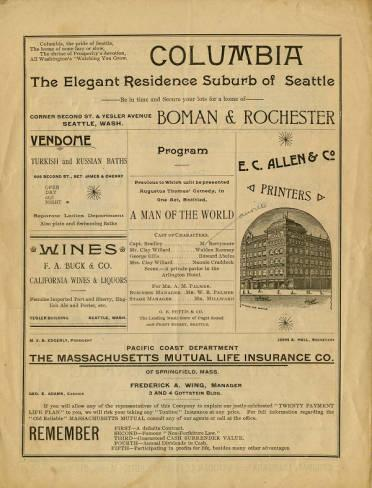 """A program from Seattle Opera Housefor the August 4, 1891 performanceof the one act comedy""""A Man of the World,"""" followed by the three-act comedy """"A Pair of Spectacles."""""""