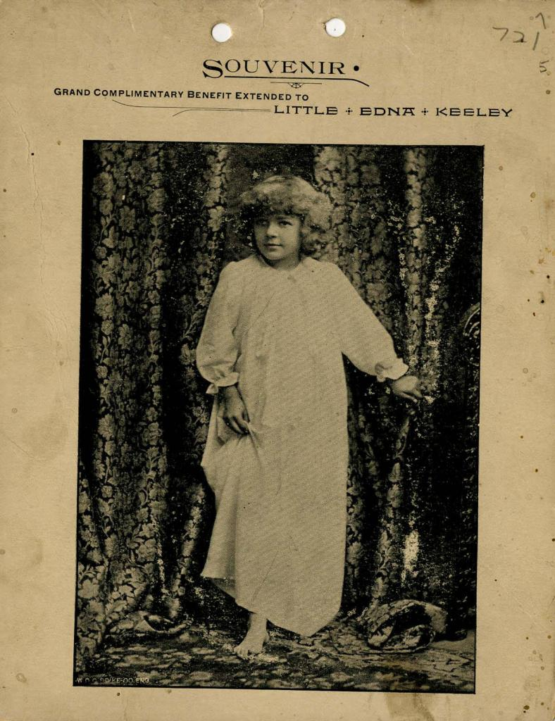 "The Seattle Opera House program for October 18, 1892. The souvenir program celebrated the performance of Edna Keeley in ""Edna's Burglar""."