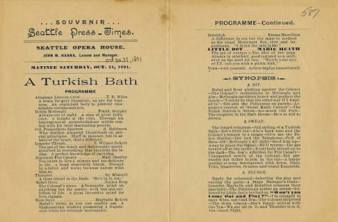 A special souvenir program from the October 30, 1891 performance of A Turkish Bath at Seattle Opera House. The program has a September 19, 1880 edition of the Seattle Weekly Press printed on the verso.