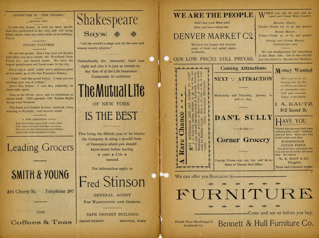 "The Seattle Theatre program for the week of January 1, 1894 where Sutton's Double Company performed ""Uncle Tom's Cabin""."