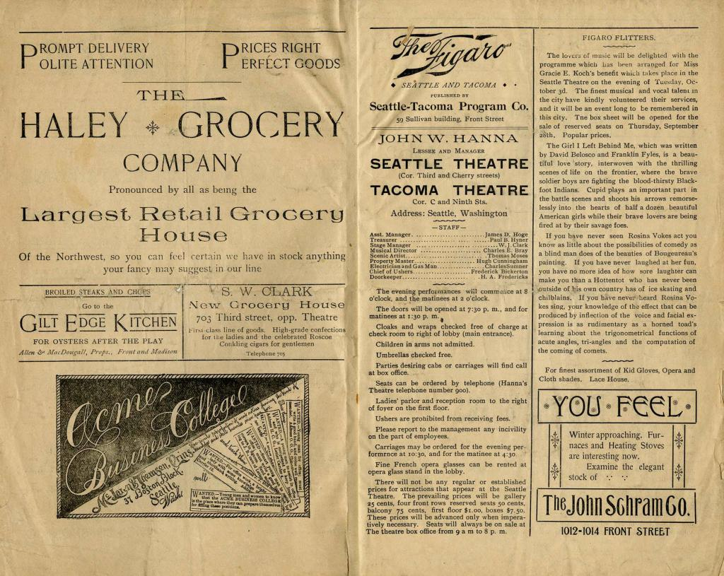 """The Seattle Theatre program for the week of September 20, 1893. Henry Irving, Ellen Terry, and the London Lyceum Theatre Company performed """"The Merchant of Venice"""" in their first appearance in Seattle."""