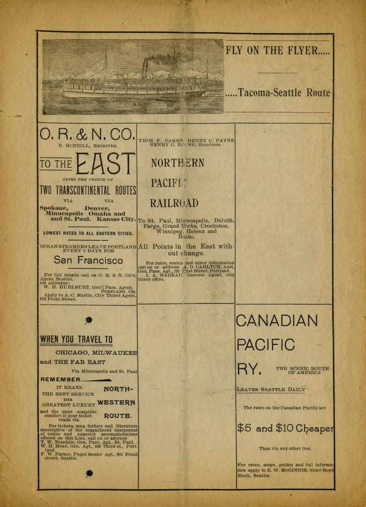 """The Seattle Theatre program for October 18-20, 1894. """"Charley's Aunt"""" written by Brandon Thomas was performed for the the first time in Seattle."""