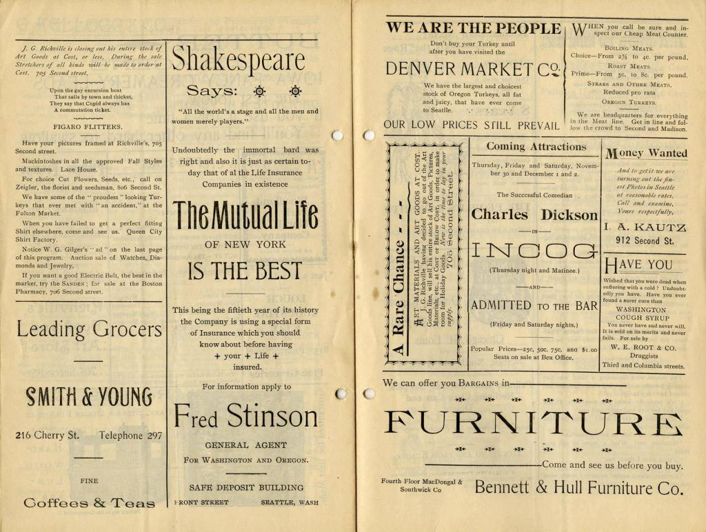 "The Seattle Theatre program for November 27-28, 1893. Rhea and W. S. Hart starred in ""The Queen of Sheba""."